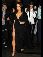 Showing some skin ... Kim and Kendall Kardashian leave Costes Restaurant in Paris after a big family gathering. Picture: Splash