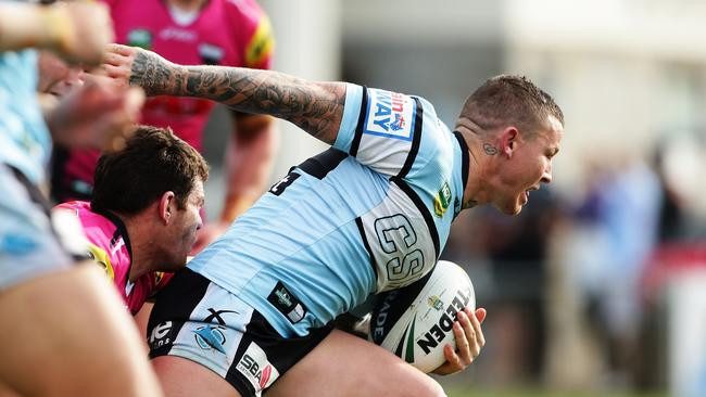 Cronulla's Todd Carney scores a try.