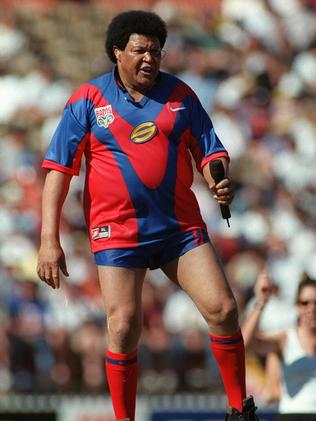 Chubby checker ... Performing in an Adelaide Rams guernsey at Adelaide Oval.