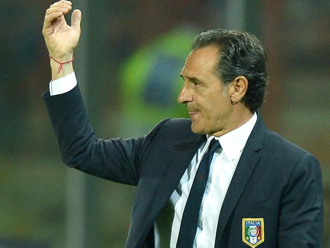Italy's coach Cesare Prandelli gestures during the friendly football match between Italy and Luxembourg.