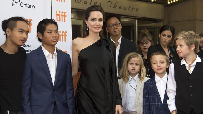 Angelina Jolie with five of her six kids (from left) Maddox, Pax, Vivienne, Knox and Shiloh. Picture: AFP/Valerie Macon