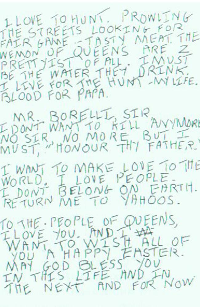 Another of Son of Sam's letters, addressed to New York Police Department captain Joseph Borrelli.