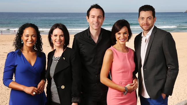 Wake Up ... Boland in a promotional image with the original Network Ten breakfast show line-up.