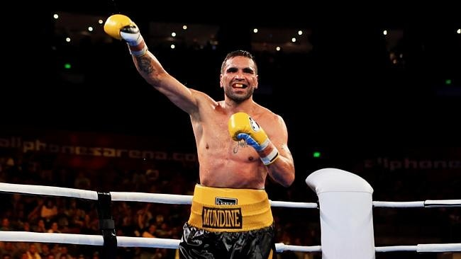 Anthony Mundine wins the WBA International super welterweight title bout between Anthony Mundine and Shane Mosley at Allphones Areana, Homebush, Sydney. pic Mark Evans