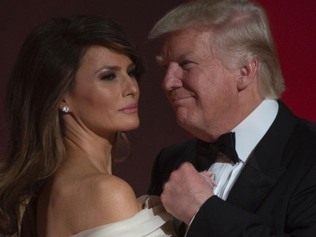US President Donald Trump and the first lady Melania Trump dance at the Liberty Ball at the Washington DC Convention Center. Picture: AFP/Molly Riley.