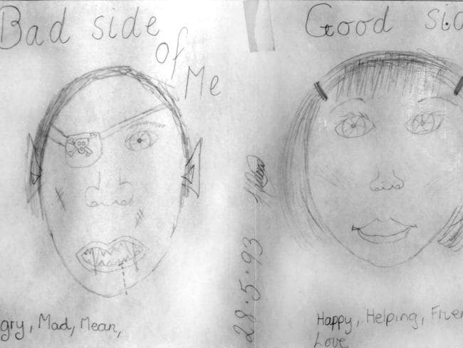 Good Side, Bad Side by Melinda, 13: Melinda was sexually abused by her stepfather for three years. In this picture she shows how the abuse has made her develop two different sides. Her bad side shows her angry, mad and mean. Her good side, the one she mostly keeps hidden, is happy, helpful, full of friendship and love. Picture: Supplied / Australian Childhood Foundation
