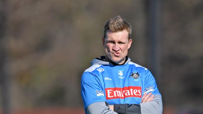 Nathan Buckley looks on during Collingwood training. Picture: AAP Images