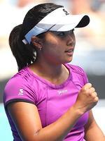 Kurumi Nara of Japan celebrates a point in her third round match against Jelena Jankovic.