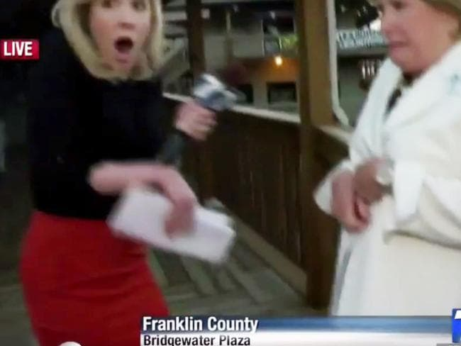 Live horror ... Parker and Gardner react as shots are fired. Picture: WDBJ7