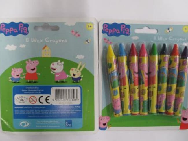 Toxic ... The Peppa Pig crayons found with asbestos. Courtesy: ACCC