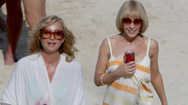 Kylie Minogue and Asher Keddie on set at Froggy Beach. Pic: Tim Marsden