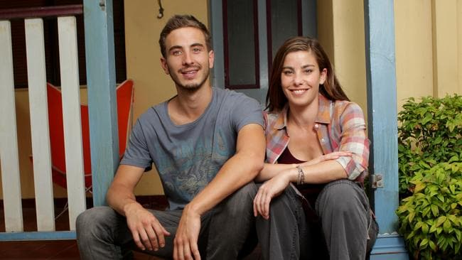 Brooke Satchwell and Ryan Corr on the set of  <i>Packed to the Rafters</i>.