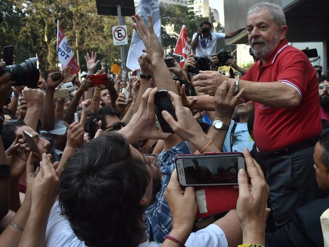 Brazil's former president Luiz Inacio Lula da Silva remains hugely popular and claims the charges are an attempt to destroy him politically ahead of elections in 2018. Picture: AFP / Nelson Almeida