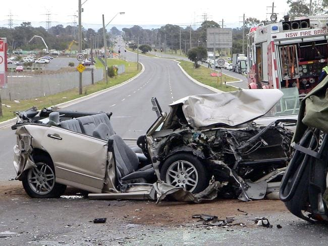 The wreckage of the Smiths' car following the crash in 2004. Picture: Supplied