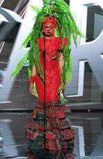 Debbie Collins, Miss Nigeria 2015 debuts her National Costume on stage at the 2015 Miss Universe Pagaent on December 16, 2015 in Las Vegas. Picture: HO/The Miss Universe Organization