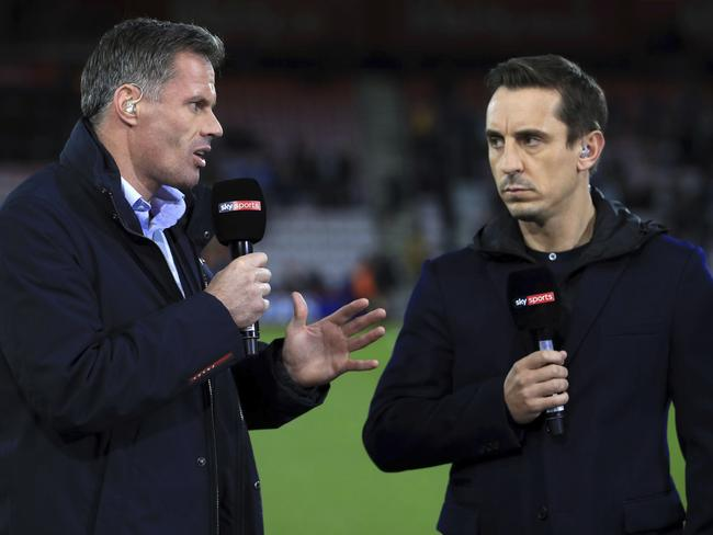 Sky Sports commentators Jamie Carragher, left, and Gary Neville