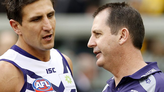 Fremantle coach Ross Lyon chats with captain Matthew Pavlich. Picture: Wayne Ludbey