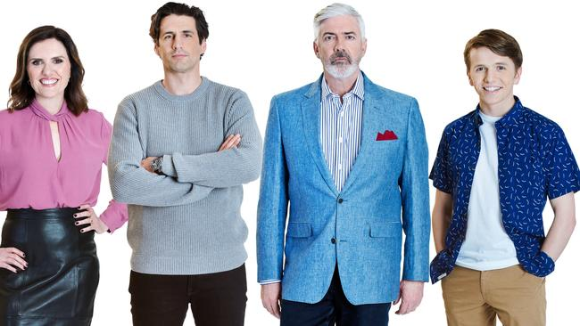Talkin' 'Bout Your Generation host Shaun Micallef with new team captains Andy Lee, Robyn Butler and Laurence Boxhall.