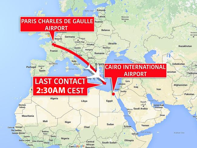 Map showing the flight path of missing EgyptAir flight 804. Picture: news.com.au