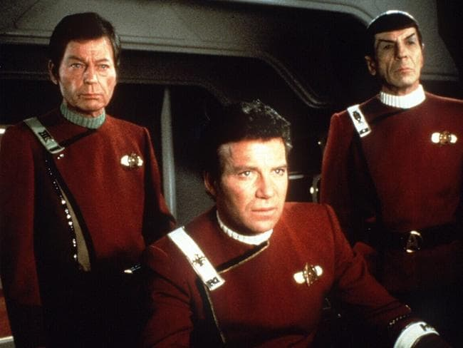 "Chemistry... Spock was the cool counterpoint to Captain James T Kirk (William Shatner, centre) and sparring partner, ship doctor Leonard ""Bones"" McCoy (DeForest Kelley, left). Picture: supplied"