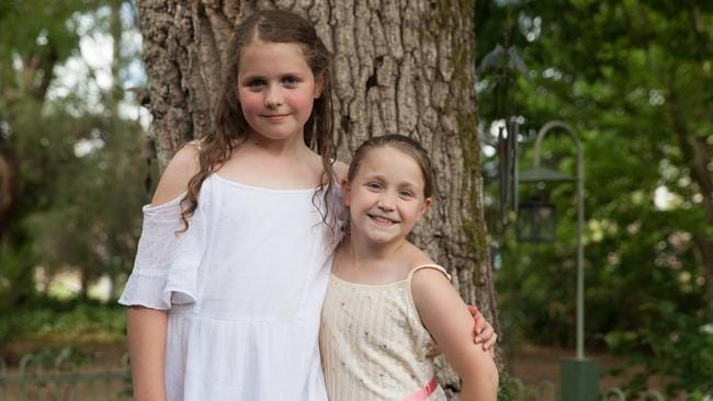 Sisters Isabelle and Hattie. Picture: Rick Liston / news.com.au