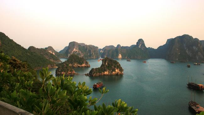 What stunning Halong Bay looks like in the tourist brochures.