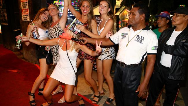 Schoolies outside the Sky Garden night club in Kuta Bali . Picture: Nathan Edwards