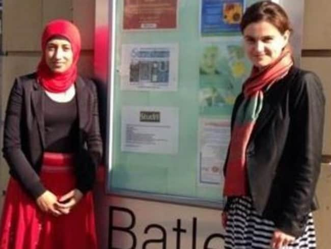 Jo Cox, right, and her assistant Fazila Aswat who was there when she died. Picture: ITV News