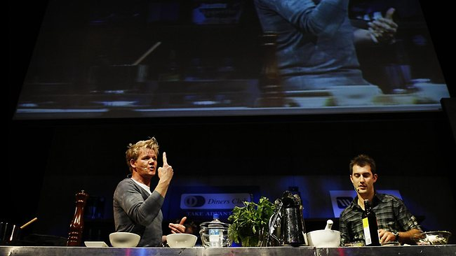 Celebrity chef Gordon Ramsay pictured giving a s a cooking demonstration at the 2008 Food and Wine Festival in Sydney. Picture: Craig Greenhill