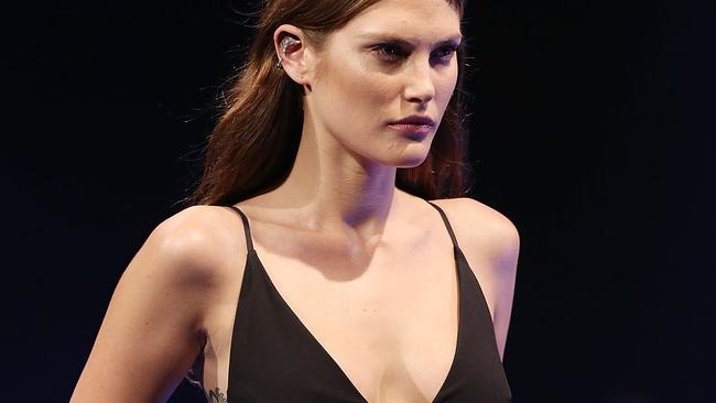 Leading model Catherine McNeil model showcased designs by Rebecca Vallance on the runway at the David Jones launch last month at David Jones. Photo by Caroline McCredie/Getty Images for David Jones