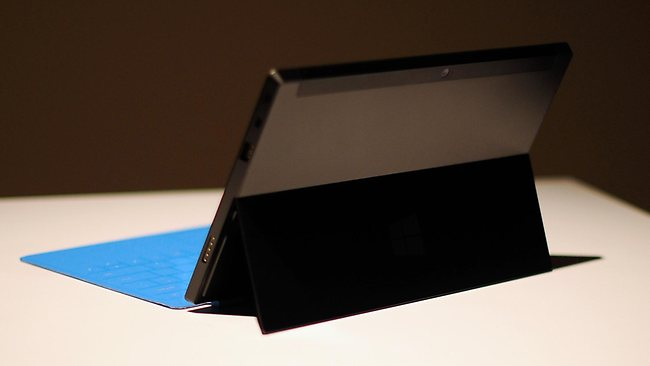 The Surface tablet comes with built in stand and attachable keyboard, and a stylus. Picture: AP / Microsoft