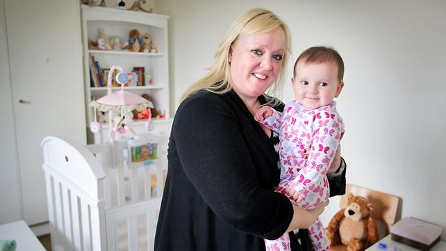 Lisa English with eight-month-old baby Jemimah. Picture: Rebecca Michael