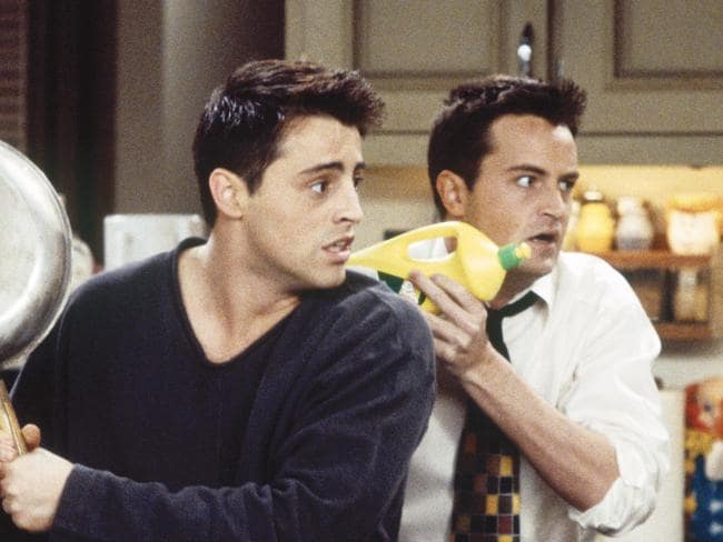 Matt LeBlanc as Joey Tribbiani and Matthew Perry as Chandler Bing in a scene from Friends. Picture: Brian D. McLaughlin/NBC/NBCU Photo Bank via Getty Images