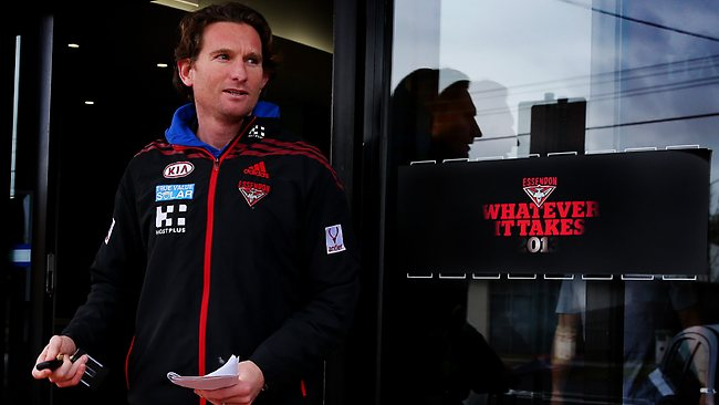 Essendon coach James Hird is in a bind. Picture: Colleen Petch