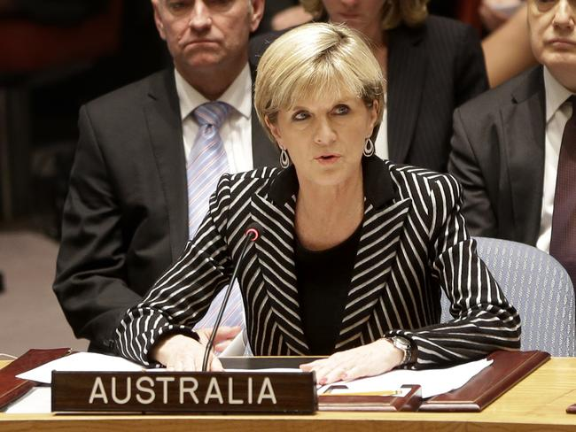 Foreign Affairs Minister Julie Bishop addresses the United Nations Security Council. Picture: AP Photo/Seth Wenig