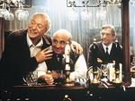 """Michael Caine with Bob Hoskins, Tom Courtenay and David Hemmings in scene from film """"Last Orders""""."""