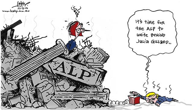 Kevin Rudd calls for time to unite behind Julia Gillard amid the ALP rubble leahy cartoon saturday march 23 2013