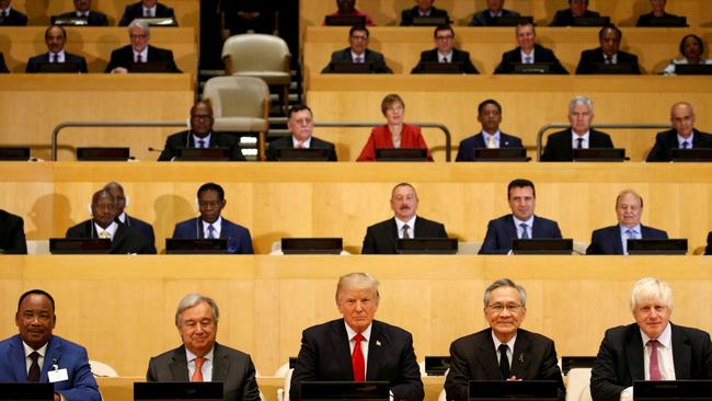 US President Donald Trump participates in a session on reforming the United Nations on Monday with other world leaders. Picture: Reuters/Kevin Lamarque