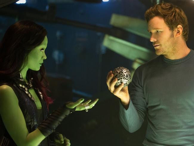 Zoe Saldana as Gamora and Chris Pratt as Peter Quill/Star-Lord. Picture: Supplied