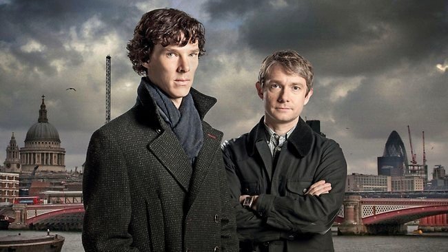 Sherlock stars Benedict Cumberbatch and Martin Freeman. Picture: Hartswood Films