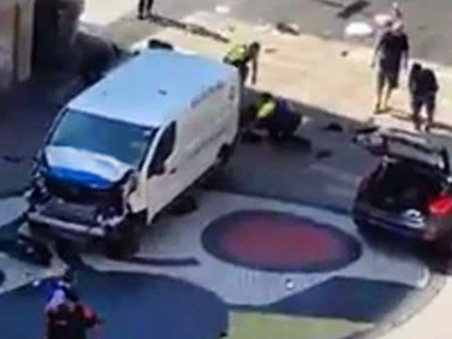 Twitter images of what is believed to be the white van used in the terror attack and abandoned in the pedestrian area.