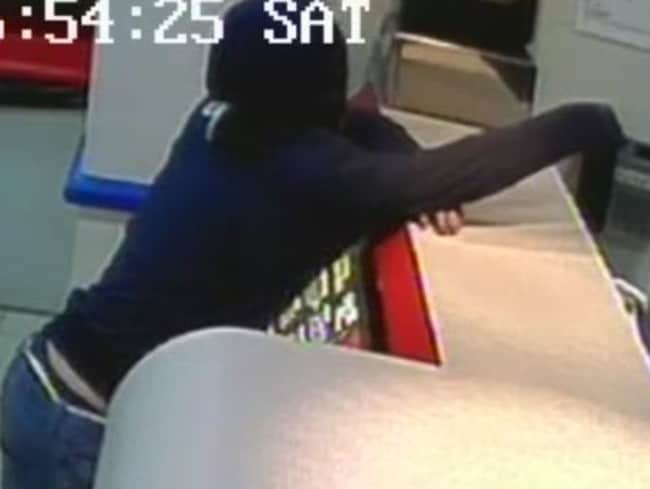Police are searching for this bandit who robbed an Eaton pizza store. Police CCTV