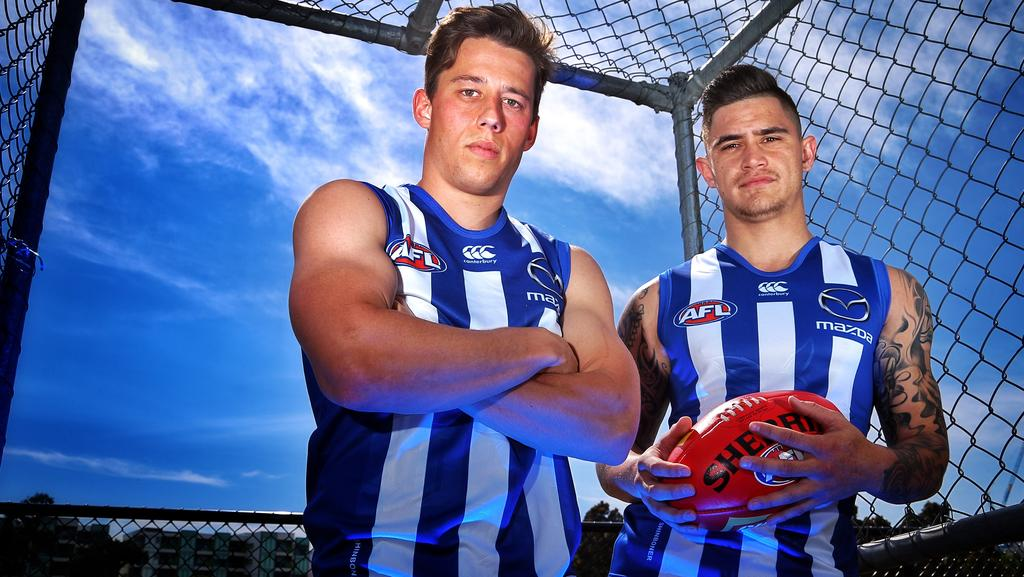 North Melbourne's trade acquisitions Nathan Hrovat and Marley Williams. Picture: Hamish Blair