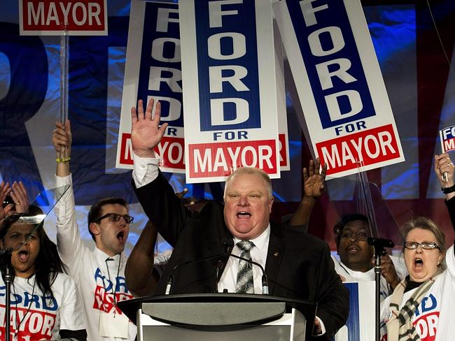 Toronto Mayor Rob Ford speaks to his supporters during his campaign launch. He announced today that he will take a leave of absence to attend rehab for substance abuse.