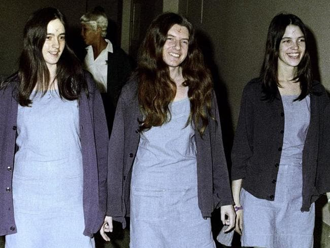 From left: Susan Atkins, Patricia Krenwinkel and Leslie Van Houten walk to court in 1970. Picture: AP