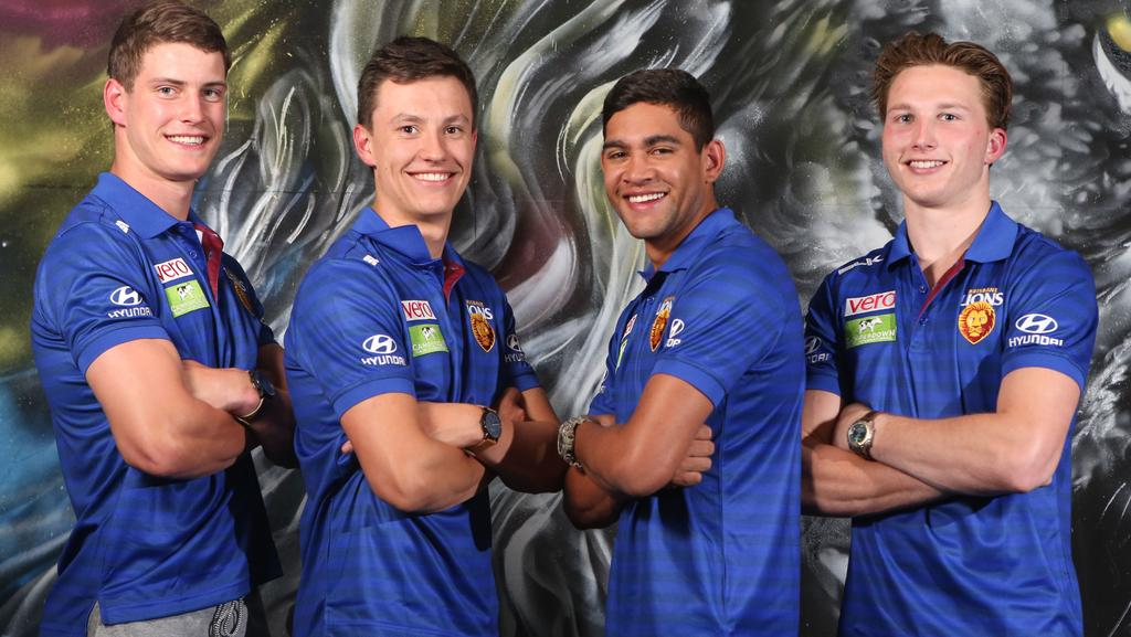 Brisbane Lions draftees (from left) Jarrod Berry, Hugh McCluggage, Cedric Cox and Alex Witherden. Picture: Jono Searle