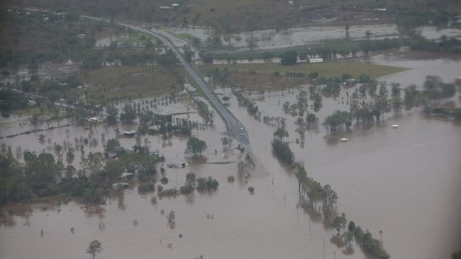 An aerial photo of flooding between Gracemere and Rockhampton. PIC: Peter Wallis