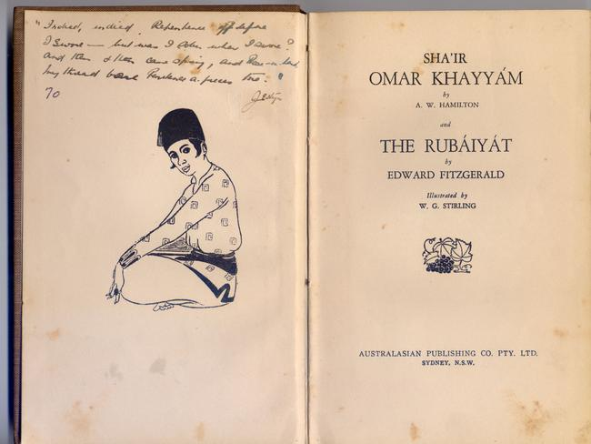 Alf Boxall's copy of the The Rubáiyát. The inscription from Jo Thompson has micro-writing, according to Gordon Cramer.