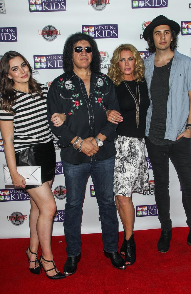 "Gene Simmons with wife Shannon and children Nick and Sophie attend the ""Music on a Mission"" benefit concert in Hollywood last month. Pic: Paul A. Hebert/Invision/AP"