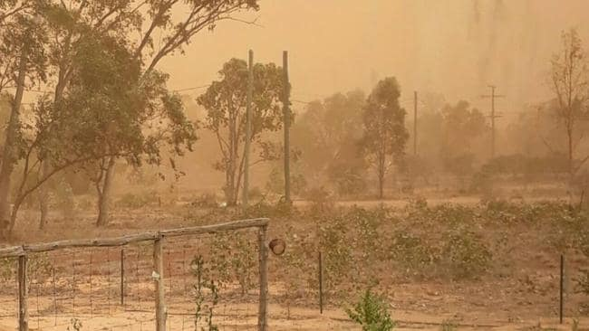 A Dust Storm pass through the Central Warrego Race Club in Charleville, Queensland. Picture: Instagram